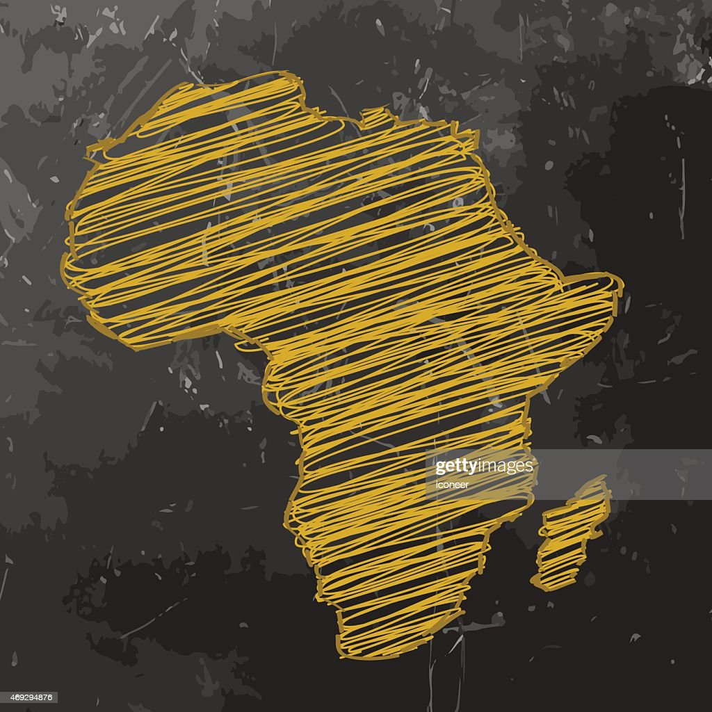 Africa Map yellow sketched on dark chalkboard background : Vector Art