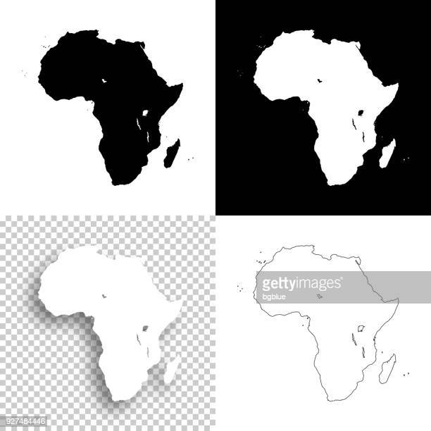 africa maps for design - blank, white and black backgrounds - french overseas territory stock illustrations
