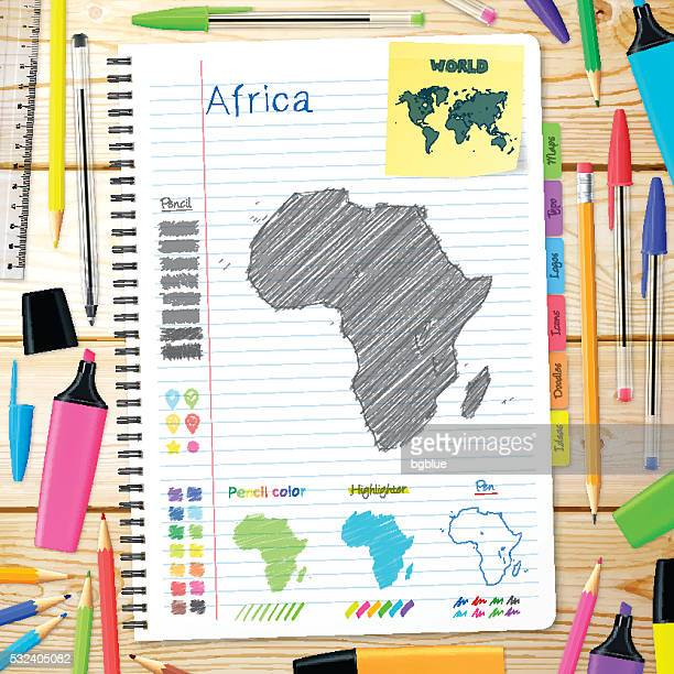 africa maps hand drawn on notebook. wooden background - eswatini stock illustrations, clip art, cartoons, & icons