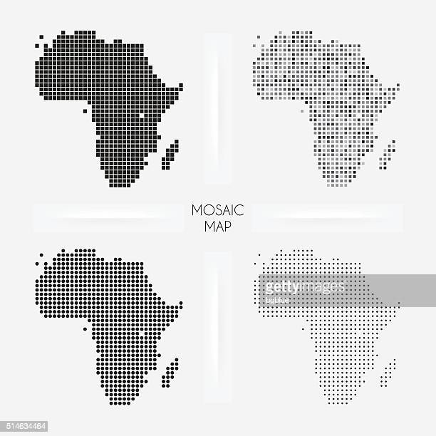 Africa maps - Mosaic squarred and dotted