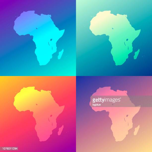 Africa maps with colorful gradients - Trendy background