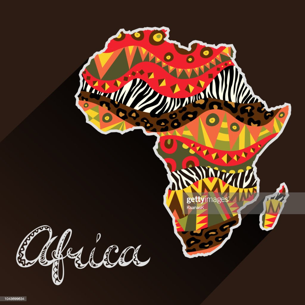 Africa ornate continent and hand drawn title.