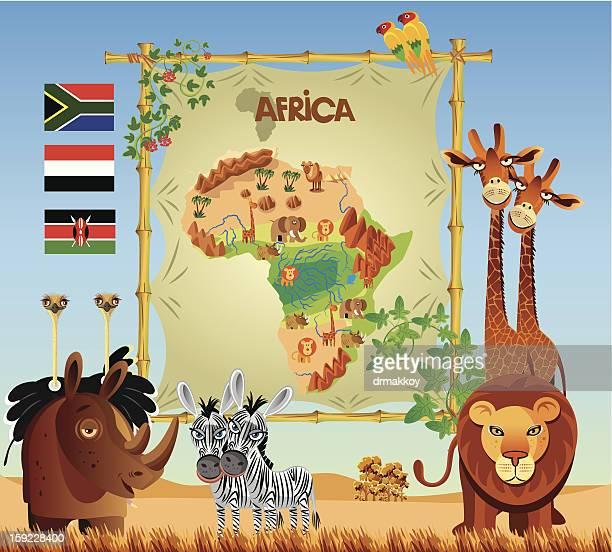 ilustraciones, imágenes clip art, dibujos animados e iconos de stock de panorama de áfrica - masai
