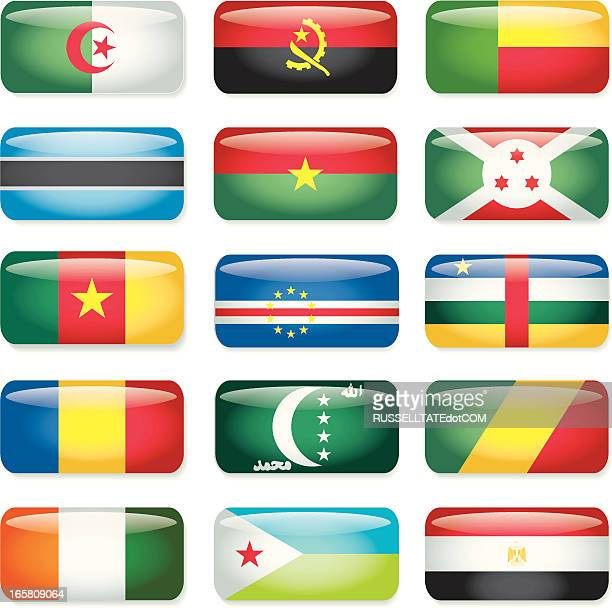 africa (a-e) rectangular flags - botswana stock illustrations, clip art, cartoons, & icons