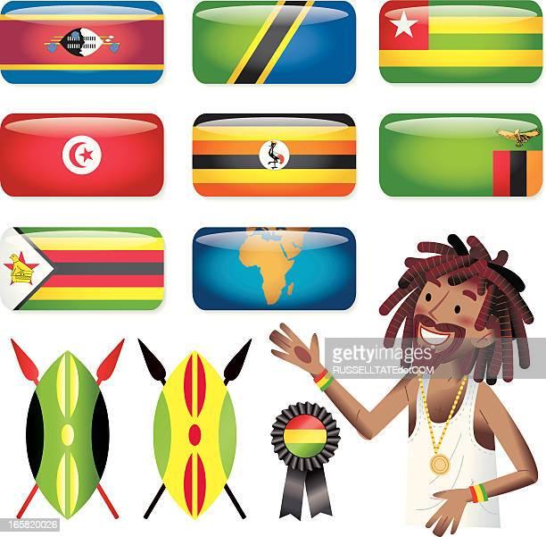 ilustrações, clipart, desenhos animados e ícones de áfrica (s-z) retangular flags. - zimbabwe