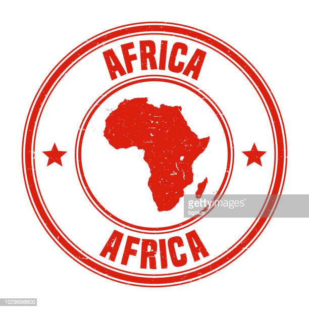 Africa - Red grunge rubber stamp with name and map