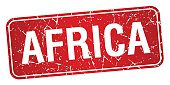 Africa red stamp isolated on white background