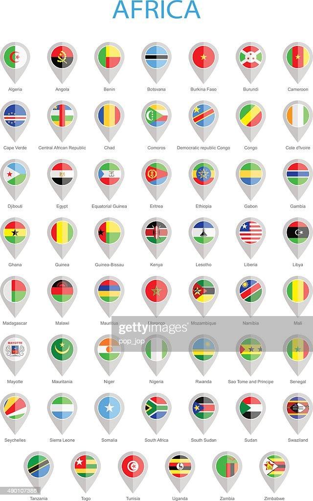 Africa - Round Flag Pins - Illustration
