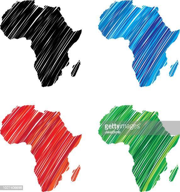illustrazioni stock, clip art, cartoni animati e icone di tendenza di scarabocchio africa - africa