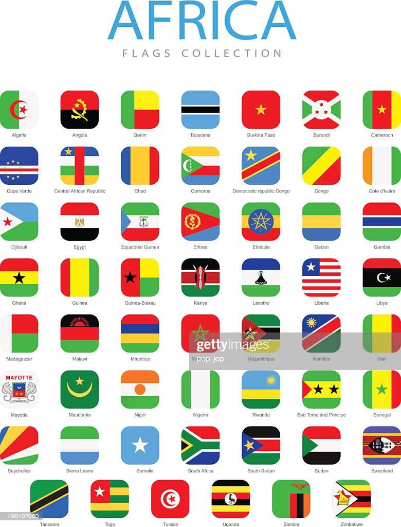 Africa - Square Flag Icons - Illustration