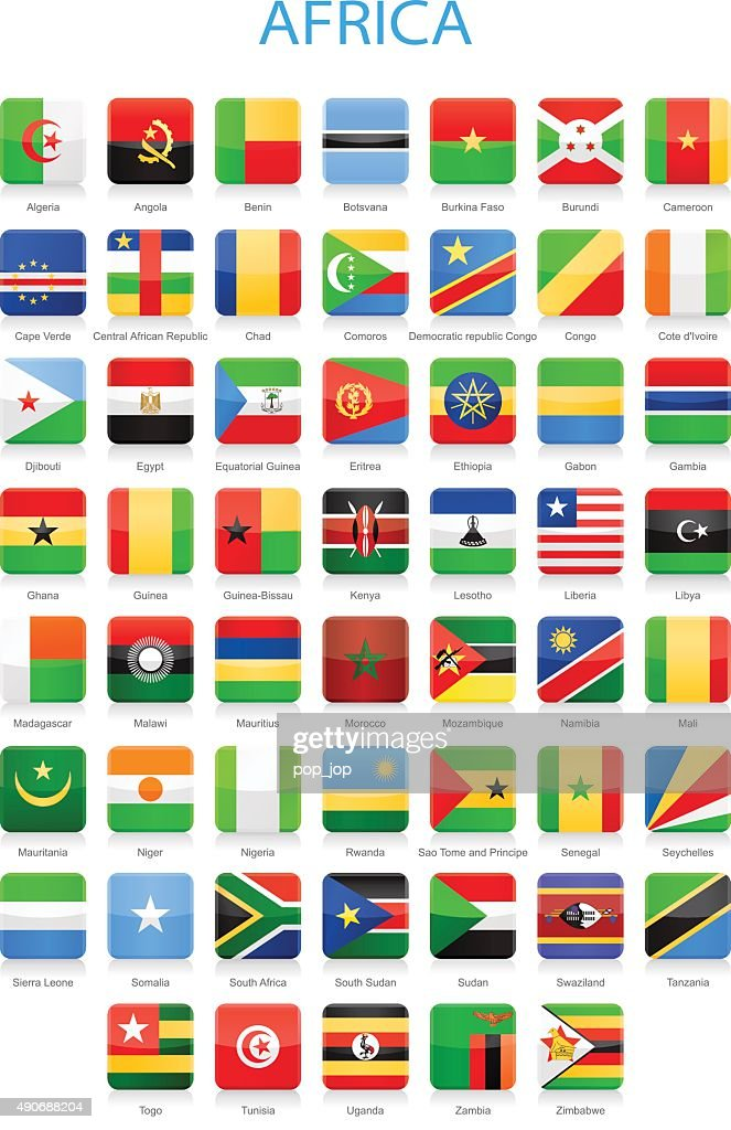 Africa - Square Flags - Illustration
