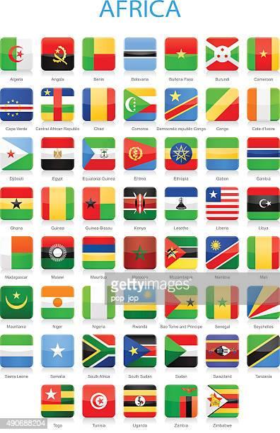 africa - square flags - illustration - liberia stock illustrations, clip art, cartoons, & icons