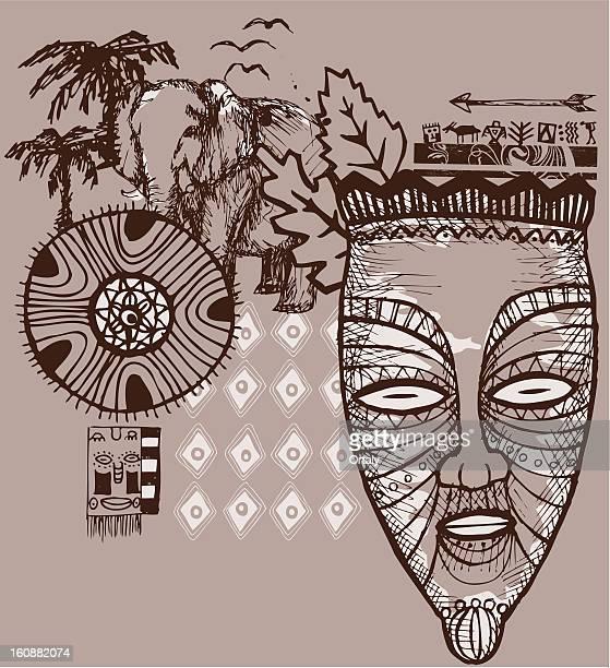 illustrations, cliparts, dessins animés et icônes de en afrique - masque africain