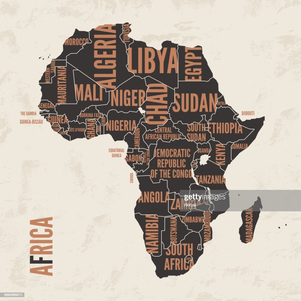 Africa vintage detailed map print poster design. Vector illustration.