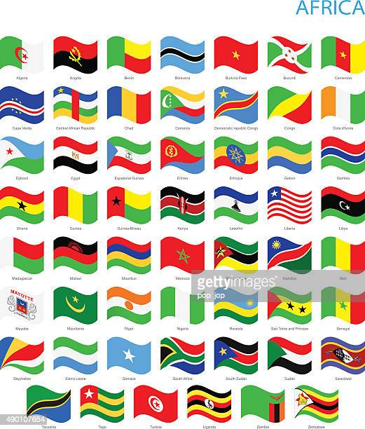 africa - waving flags - illustration - liberia stock illustrations, clip art, cartoons, & icons