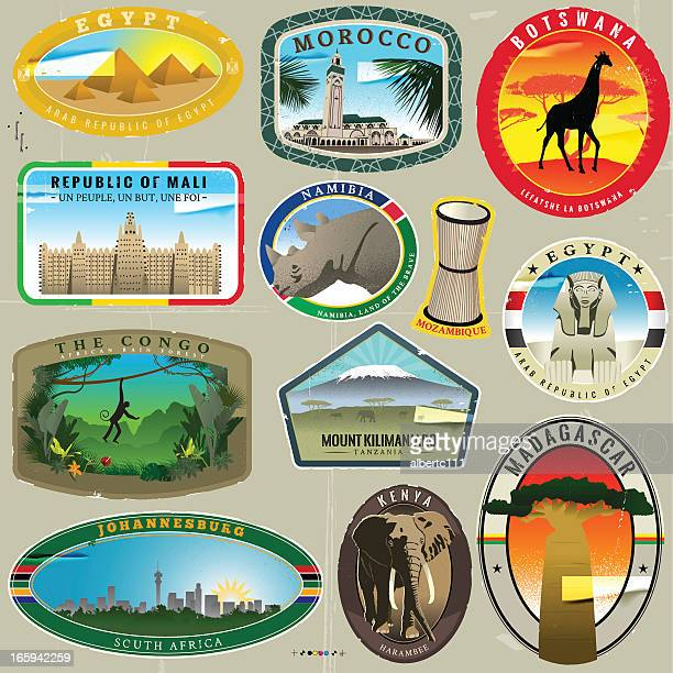 african adventure travel stickers set - mt kilimanjaro stock illustrations, clip art, cartoons, & icons