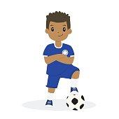 African American Boy in Blue Soccer Jersey Cartoon Vector