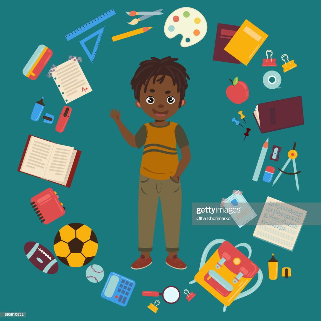 African american boy with school supplies