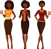 African American business women with coffee