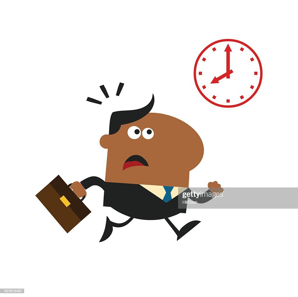 African American Businessman Running Flat Design by Clock