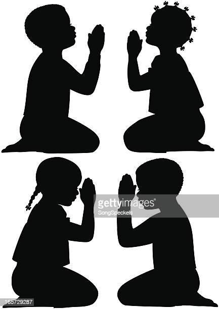 african american children praying - praying stock illustrations, clip art, cartoons, & icons