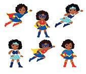 African American Cute superhero girl vector clip art set.