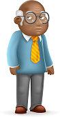 African american european old man adult grandfather 3d cartoon design vector illustration