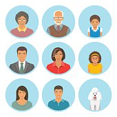 African American family faces flat vector avatars set