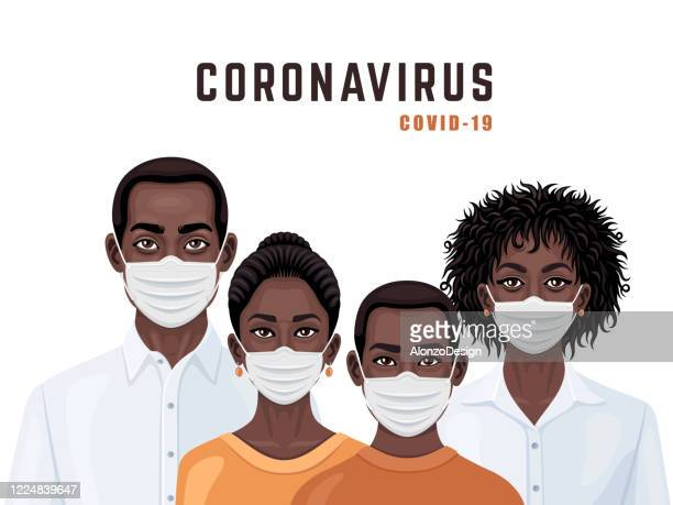 ilustraciones, imágenes clip art, dibujos animados e iconos de stock de familia afroamericana con máscaras médicas. cuarentena de coronavirus. - africano americano