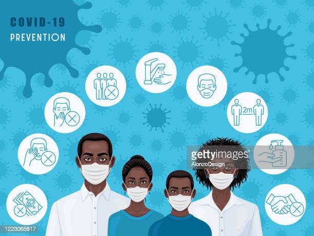 african american family wearing medical face masks. covid-19 prevention. - pandemic illness stock illustrations