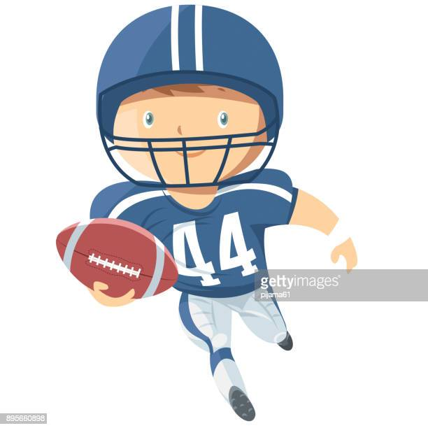 African American football player run with ball.