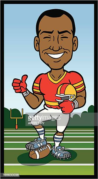 african american football player - football player stock illustrations, clip art, cartoons, & icons