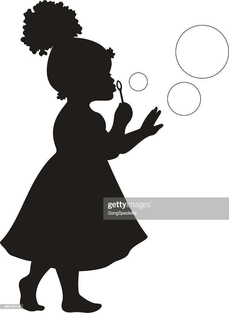 African American Girl Blowing Bubbles : stock illustration