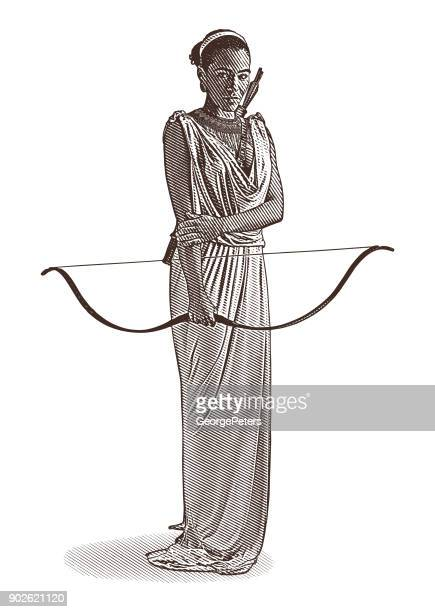 african american goddess with bow and arrow, wearing classical grecian dress. - goddess stock illustrations, clip art, cartoons, & icons