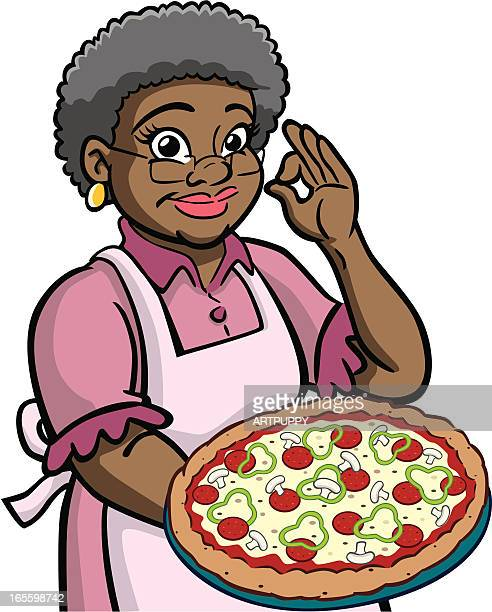 African American Granny Holding Pizza