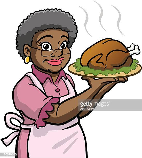African American Granny Holding Turkey