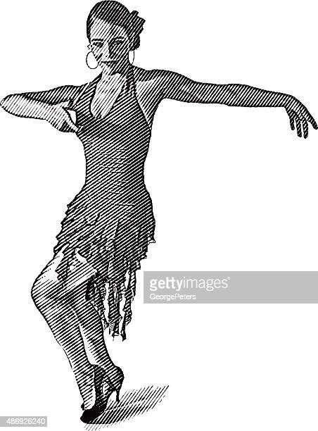 african american, hispanic woman salsa dancing - samba stock illustrations