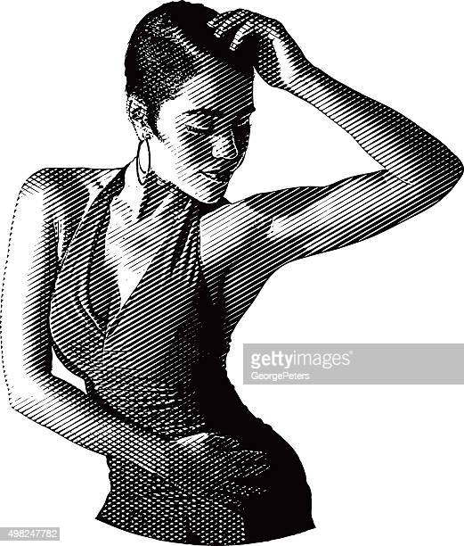 african american, hispanic woman salsa dancing - cuban culture stock illustrations, clip art, cartoons, & icons
