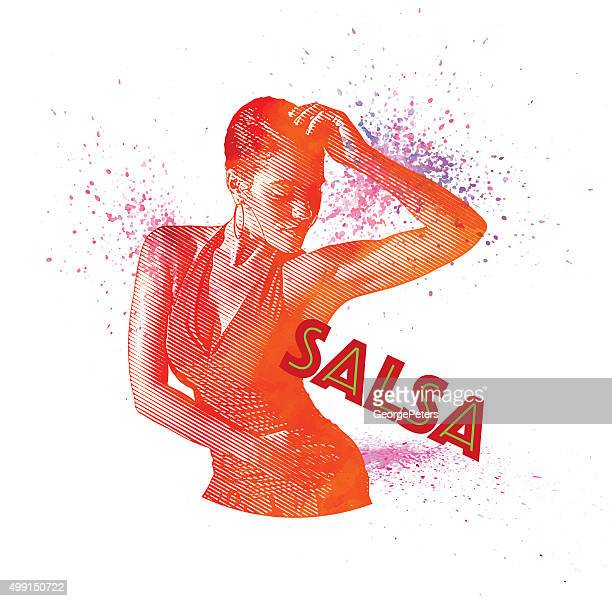 african american, hispanic woman salsa dancing - salsa music stock illustrations, clip art, cartoons, & icons