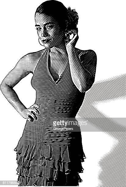 african american, hispanic woman wearing salsa dress - samba stock illustrations