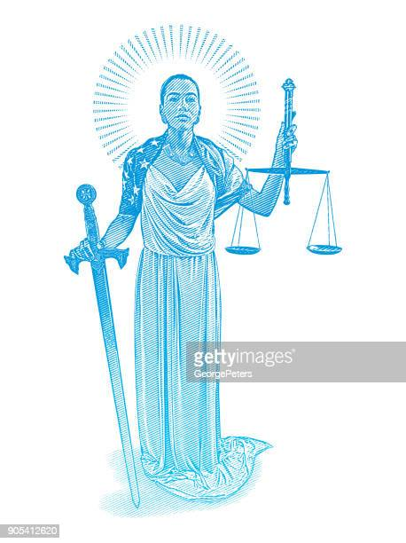 African American Lady Justice with rebellious expression