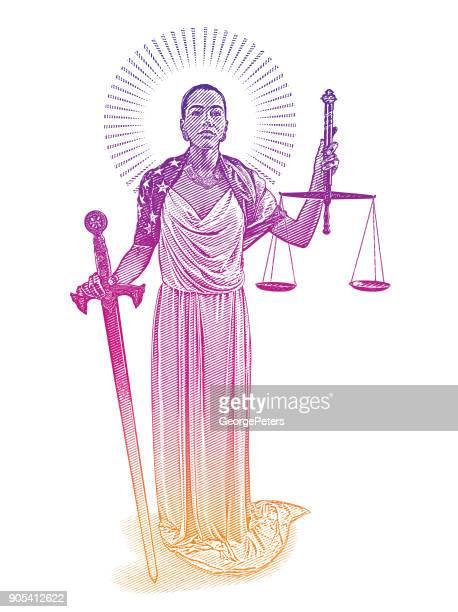 ilustraciones, imágenes clip art, dibujos animados e iconos de stock de señora de americano africano justicia con expresión rebelde - balanzas de la justicia