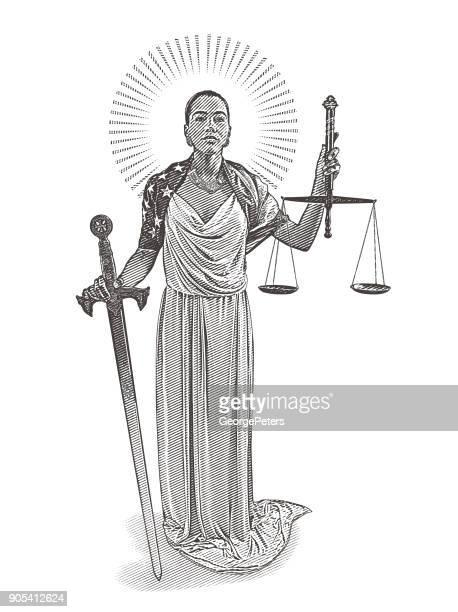 African American Justitia mit rebellischen Ausdruck