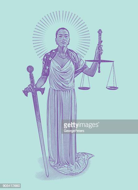 african american lady justice with rebellious expression - me too social movement stock illustrations, clip art, cartoons, & icons