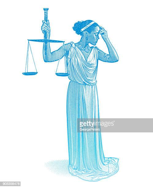 african american lady justice with worried expression - unfairness stock illustrations