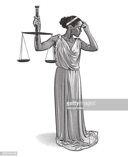 心配そうな表情でアフリカ系アメリカ人女性の正義 - 最高裁判事点のイラスト素材/クリップアート素材/マンガ素材/アイコン素材