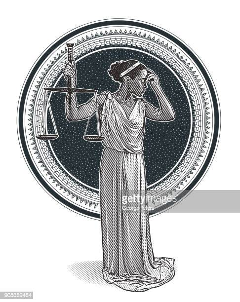 African American Lady Justice with worried expression
