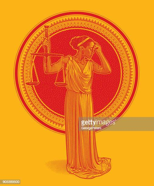 african american lady justice with worried expression - me too social movement stock illustrations, clip art, cartoons, & icons