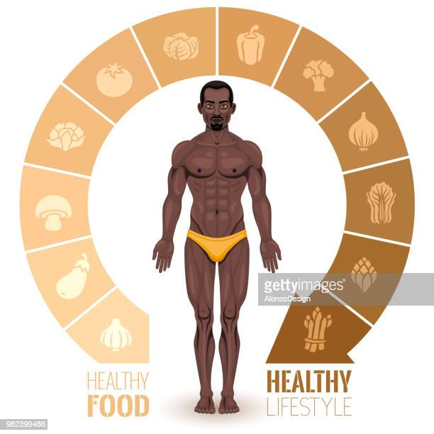 african american man with a healthy lifestyle - cauliflower stock illustrations, clip art, cartoons, & icons