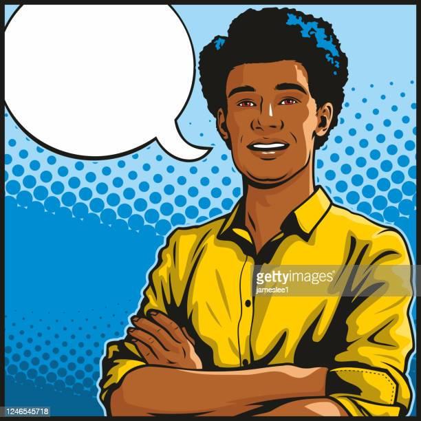 african american man with folded arms - pop art stock illustrations